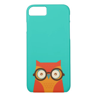 Cute Funny Retro Hipster Owl Thick Framed Glasses iPhone 7 Case
