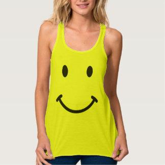 Cute Funny Retro Smiley face Flowy Racerback Tank Top
