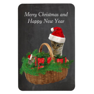 Cute funny santa cat and mouse holiday chalkboard rectangular photo magnet