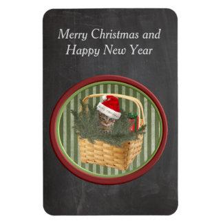 Cute funny santa cat holiday chalkboard rectangular photo magnet
