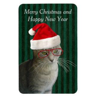 Cute funny santa cat holiday trendy rectangular photo magnet