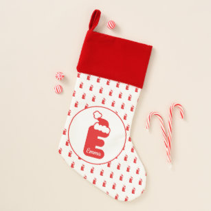 cute funny santa claus hat pattern monogrammed e christmas stocking