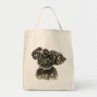 Cute Funny Schnauzer Puppy Watercolour Dog Design Tote Bag