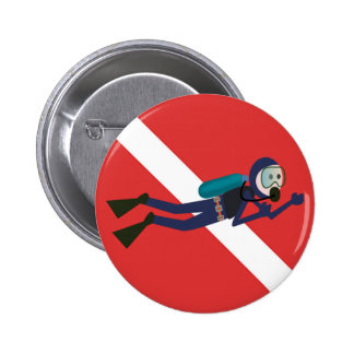 CUTE FUNNY SCUBA DIVER WITH  RED DIVING FLAG GIFT 2 INCH ROUND BUTTON