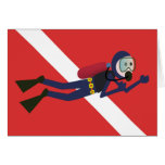 CUTE FUNNY SCUBA DIVER WITH  RED DIVING FLAG GIFT CARD