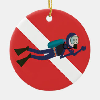 CUTE FUNNY SCUBA DIVER WITH  RED DIVING FLAG GIFT CERAMIC ORNAMENT