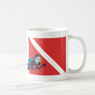 CUTE FUNNY SCUBA DIVER WITH  RED DIVING FLAG GIFT COFFEE MUG
