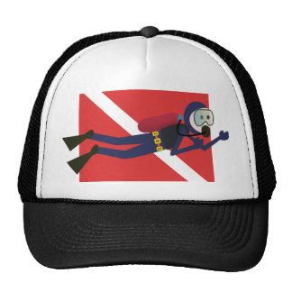 CUTE FUNNY SCUBA DIVER WITH  RED DIVING FLAG GIFT TRUCKER HAT