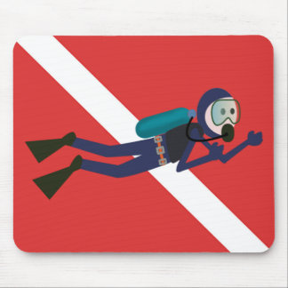 CUTE FUNNY SCUBA DIVER WITH  RED DIVING FLAG GIFT MOUSE PAD