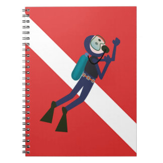 CUTE FUNNY SCUBA DIVER WITH  RED DIVING FLAG GIFT SPIRAL NOTEBOOKS
