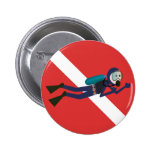 CUTE FUNNY SCUBA DIVER WITH  RED DIVING FLAG GIFT PINBACK BUTTON