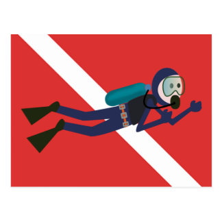 CUTE FUNNY SCUBA DIVER WITH  RED DIVING FLAG GIFT POSTCARD
