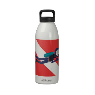 CUTE FUNNY SCUBA DIVER WITH  RED DIVING FLAG GIFT DRINKING BOTTLE