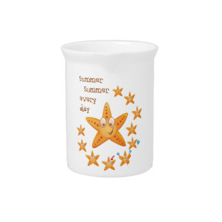 Cute funny sea star among little ones beverage pitcher
