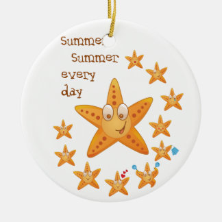 Cute funny sea star among little ones ceramic ornament