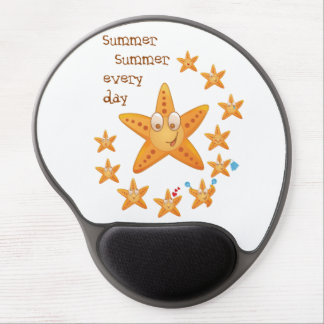 Cute funny sea star among little ones gel mouse pad