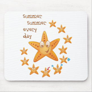 Cute funny sea star among little ones mouse pad