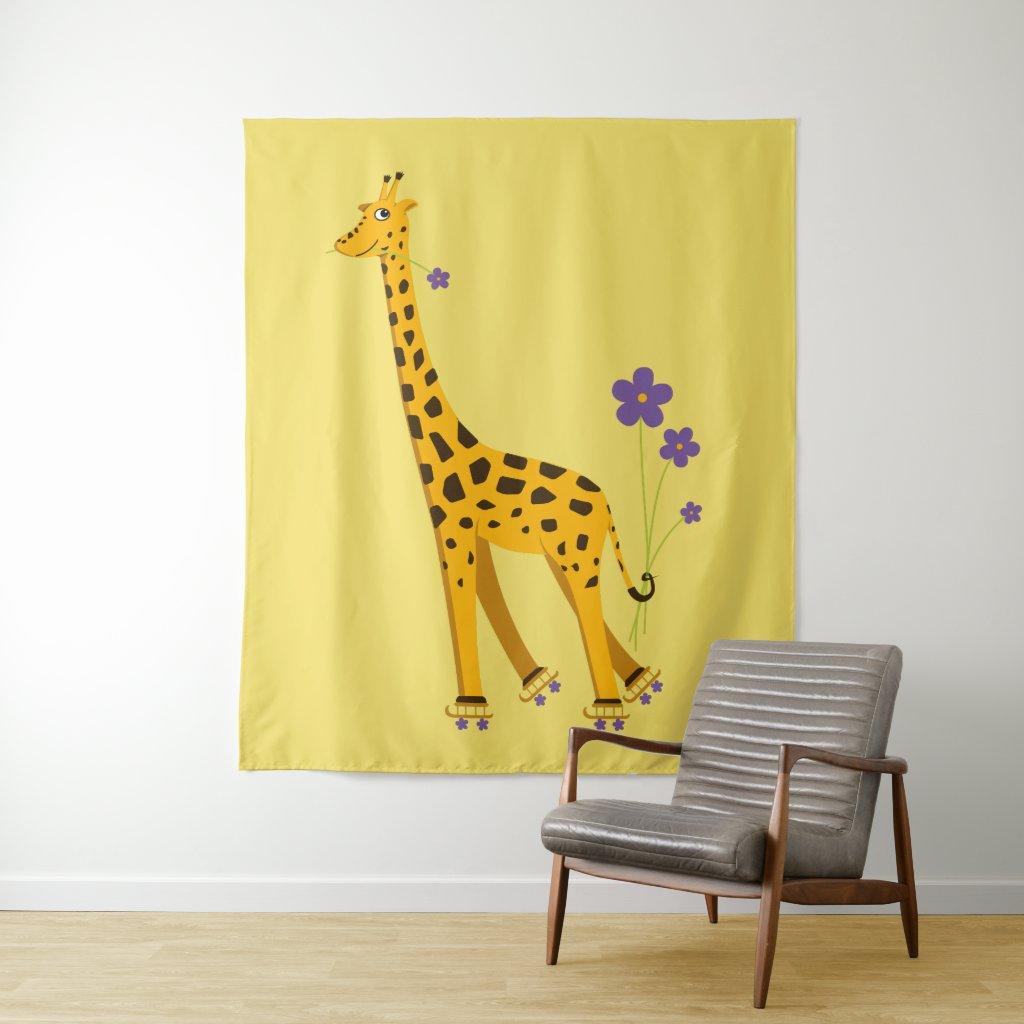 Cute Funny Skating Cartoon Giraffe Tapestry