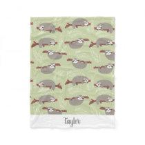 Cute Funny Sloth Hanging in Tree Custom Name Text Fleece Blanket