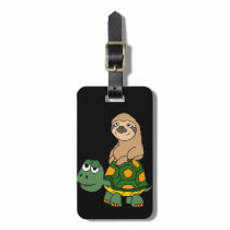 Cute Funny Sloth on Turtle Cartoon Luggage Tag