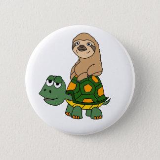 Cute Funny Sloth on Turtle Cartoon Pinback Button