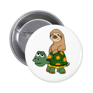 Cute Funny Sloth on Turtle Cartoon Pinback Button