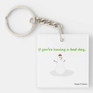 Cute funny snowman Christmas keychain