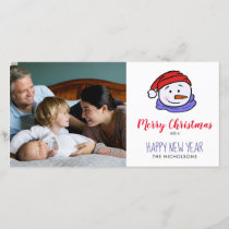 Cute Funny Snowman Drawing | Merry Christmas Holiday Card