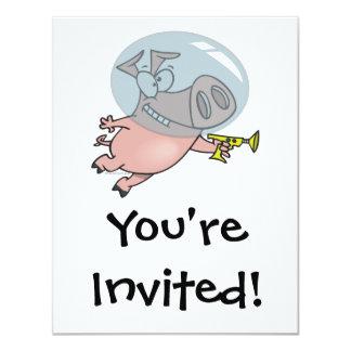 cute funny space pig cartoon 4.25x5.5 paper invitation card