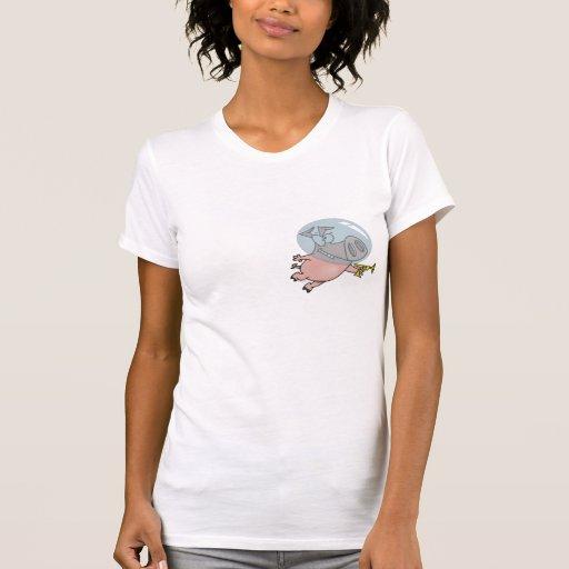 cute funny space pig cartoon tshirt