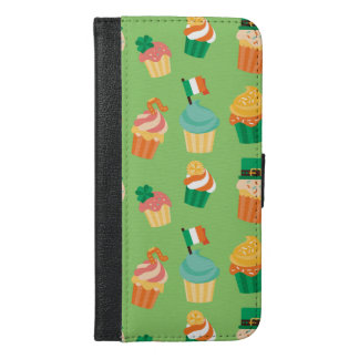 Cute funny St patrick green orange cupcake pattern iPhone 6/6s Plus Wallet Case