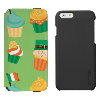 Cute funny St patrick green orange cupcake pattern iPhone 6/6s Wallet Case