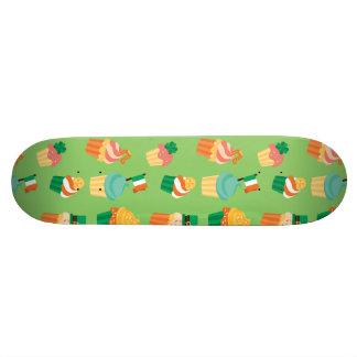 Cute funny St patrick green orange cupcake pattern Skateboard Deck