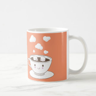 Cute funny sugar cubes bathing in coffee cup