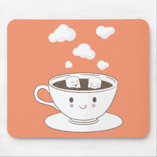 Cute funny sugar cubes bathing in coffee cup mouse pad