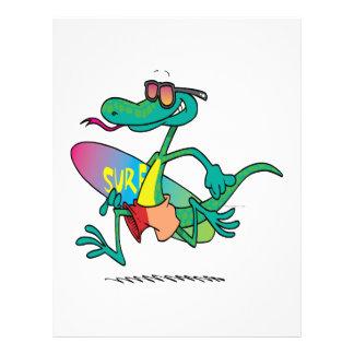 cute funny surfer beach lizard cartoon flyer