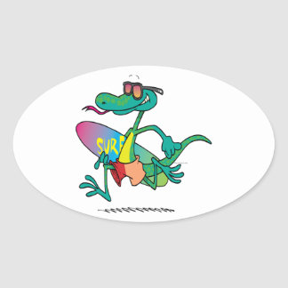cute funny surfer beach lizard cartoon oval sticker