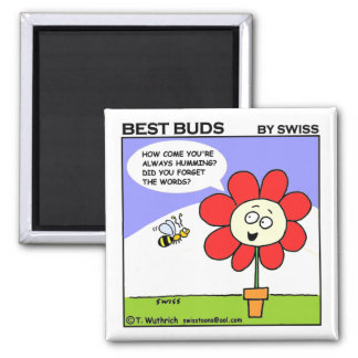 Cute Funny Sweet Musical Bee Cartoon Fridge 2 Inch Square Magnet
