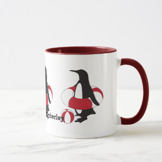 Cute Funny Swimming Penguin Summer Fun Kids Name Mug