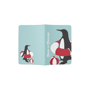 Cute Funny Swimming Penguin Summer Fun Kids Name Passport Holder