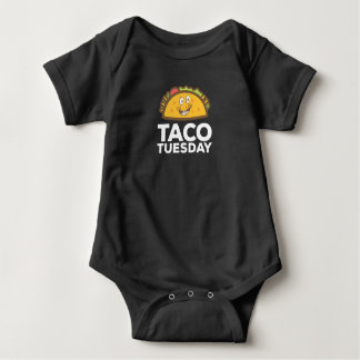 Cute & Funny Taco Tuesday Smiling Taco Baby Bodysuit