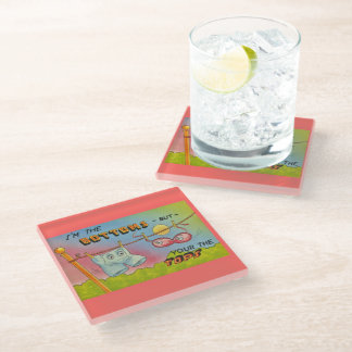 Cute Funny Talking Underwear Hanging Clothes Line Glass Coaster
