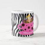 Cute Funny Teacup Fairy Zebra Leopard Pink Purple Jumbo Mug