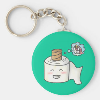 Cute Funny Toilet Paper Dreaming It is Unicorn Keychain