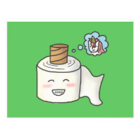 Cute Funny Toilet Paper Dreaming It is Unicorn Postcard