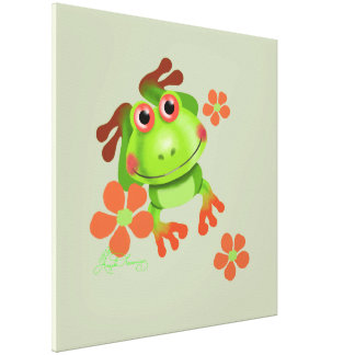Cute Funny Tree Frog Stretched Canvas Prints