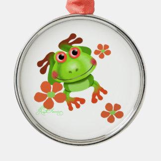 Cute Funny Tree Frog Metal Ornament