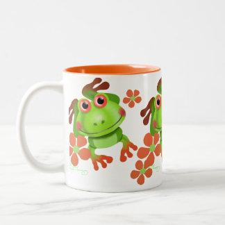 Cute Funny Tree Frog Two-Tone Coffee Mug