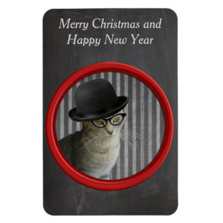 Cute funny trendy cat with hat holiday chalkboard rectangular photo magnet