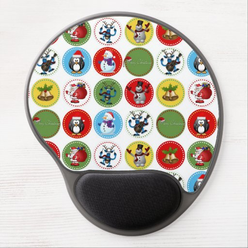 Cute funny trendy Christmas characters pattern Gel Mousepads